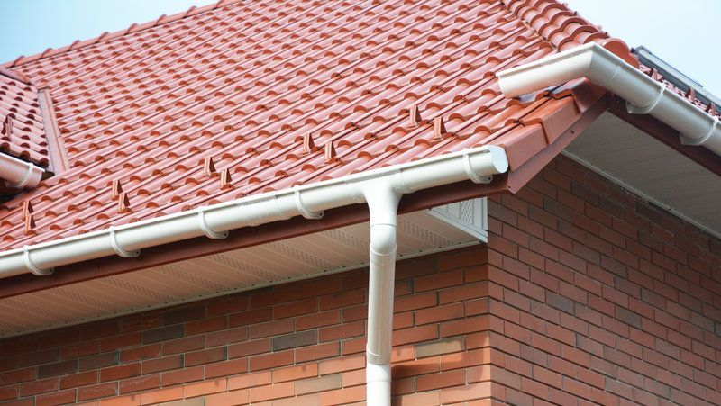 A newly installed uPVC gutter on a domestic property